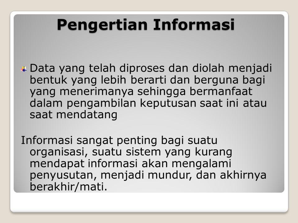 Pengertian Informasi Data yang telah diproses dan diolah menjadi bentuk yang lebih berarti dan berguna bagi yang menerimanya sehingga bermanfaat dalam
