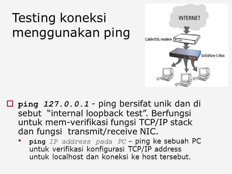 "Testing koneksi menggunakan ping  ping 127.0.0.1 - ping bersifat unik dan di sebut ""internal loopback test"". Berfungsi untuk mem-verifikasi fungsi TC"