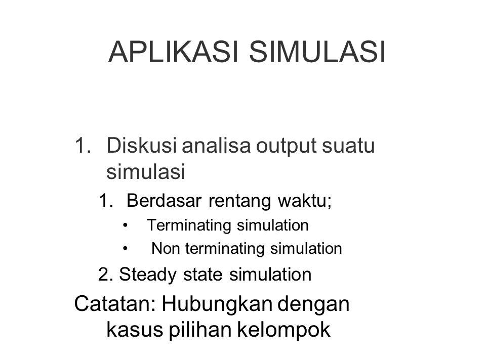 APLIKASI SIMULASI 1.Diskusi analisa output suatu simulasi 1.Berdasar rentang waktu; Terminating simulation Non terminating simulation 2. Steady state