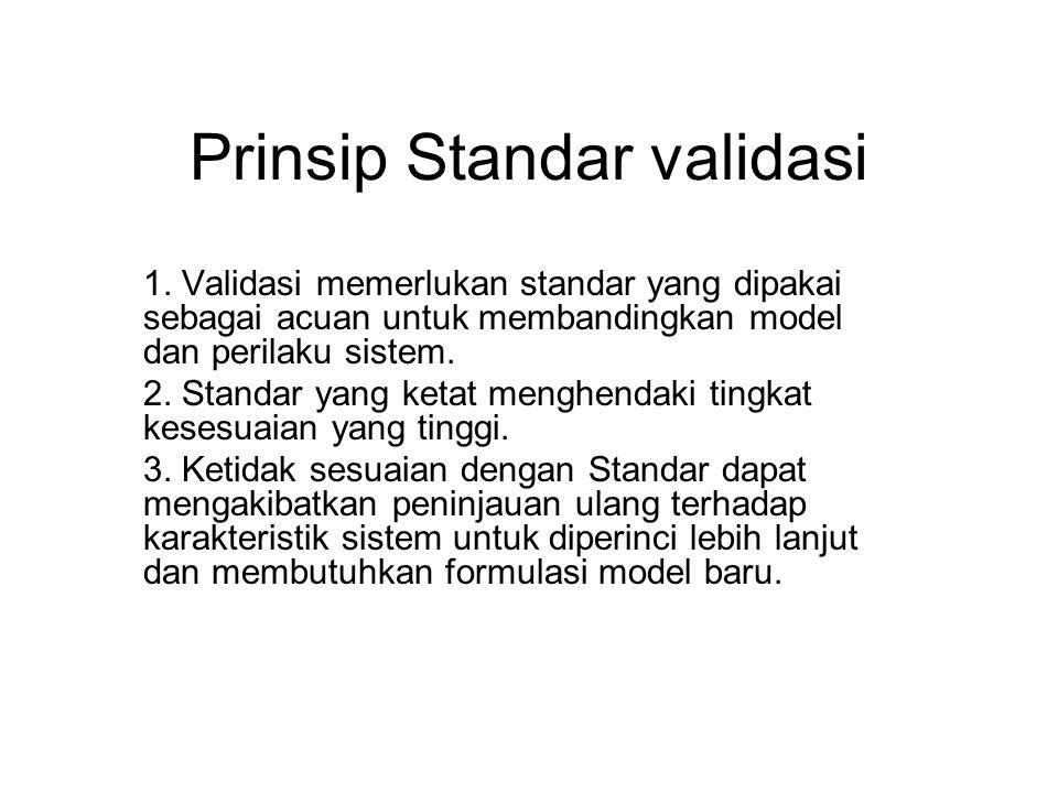 Prinsip Standar validasi 1. Validasi memerlukan standar yang dipakai sebagai acuan untuk membandingkan model dan perilaku sistem. 2. Standar yang keta