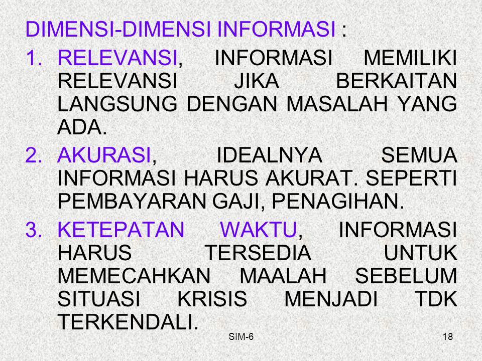 SIM-618 DIMENSI-DIMENSI INFORMASI : 1.RELEVANSI, INFORMASI MEMILIKI RELEVANSI JIKA BERKAITAN LANGSUNG DENGAN MASALAH YANG ADA. 2.AKURASI, IDEALNYA SEM
