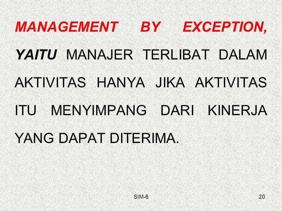 SIM-620 MANAGEMENT BY EXCEPTION, YAITU MANAJER TERLIBAT DALAM AKTIVITAS HANYA JIKA AKTIVITAS ITU MENYIMPANG DARI KINERJA YANG DAPAT DITERIMA.