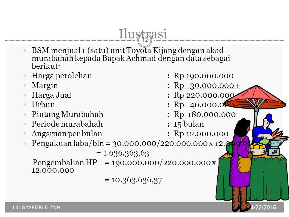 Ilustrasi BSM menjual 1 (satu) unit Toyota Kijang dengan akad murabahah kepada Bapak Achmad dengan data sebagai berikut: Harga perolehan: Rp 190.000.000 Margin: Rp 30.000.000 + Harga Jual: Rp 220.000.000 Urbun: Rp 40.000.000 - Piutang Murabahah: Rp 180.000.000 Periode murabahah: 15 bulan Angsruan per bulan : Rp 12.000.000 Pengakuan laba/bln = 30.000.000/220.000.000 x 12.000.000 = 1.636.363,63 Pengembalian HP = 190.000.000/220.000.000 x 12.000.000 = 10.363.636,37 4/22/2015 12 LILI SYAFITRI D-7134