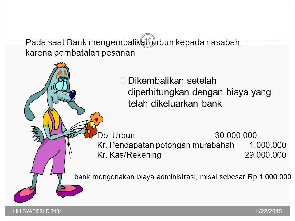 Pada saat Bank mengembalikan urbun kepada nasabah karena pembatalan pesanan  Dikembalikan setelah diperhitungkan dengan biaya yang telah dikeluarkan bank : Db.