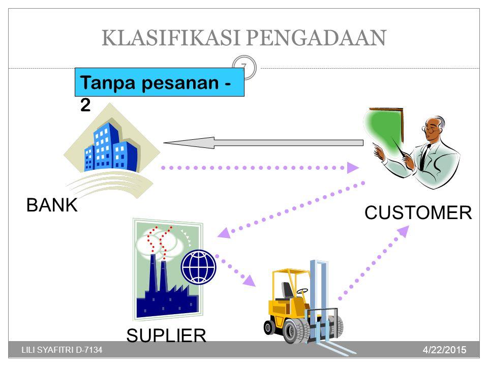 KLASIFIKASI PENGADAAN Tanpa pesanan - 2 SUPLIER BANK CUSTOMER 4/22/2015 7 LILI SYAFITRI D-7134