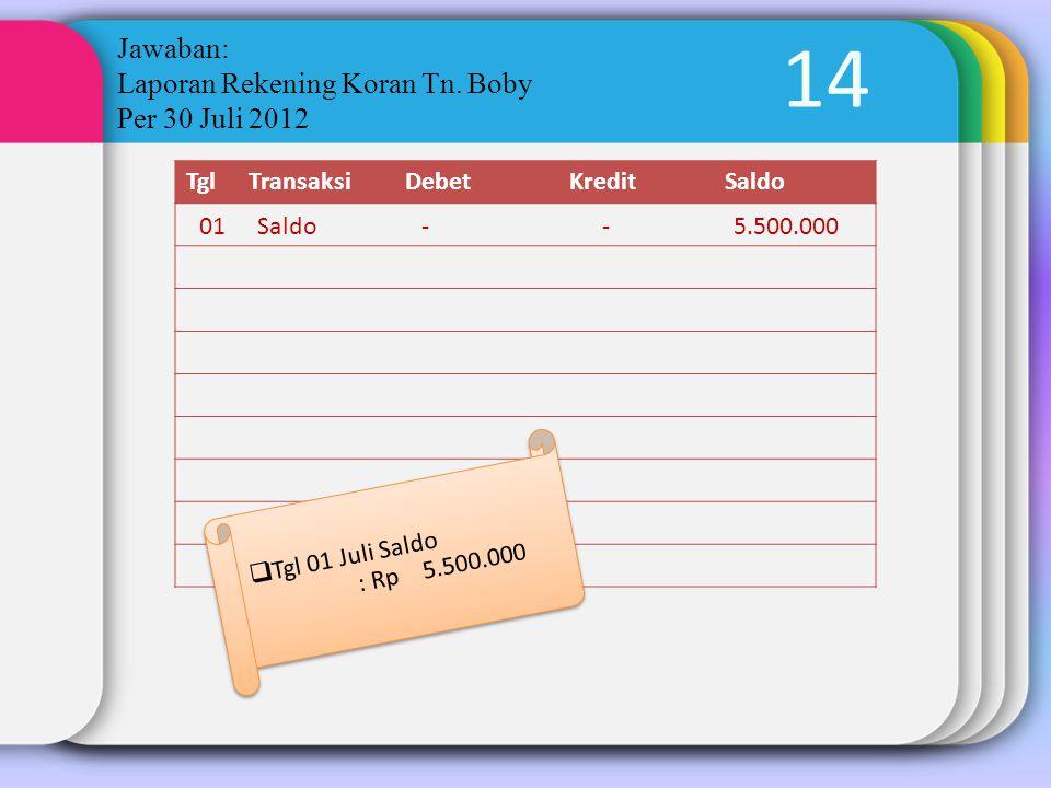 14 Jawaban: Laporan Rekening Koran Tn. Boby Per 30 Juli 2012 TglTransaksiDebetKreditSaldo  Tgl 01 Juli Saldo : Rp 5.500.000 01Saldo--5.500.000