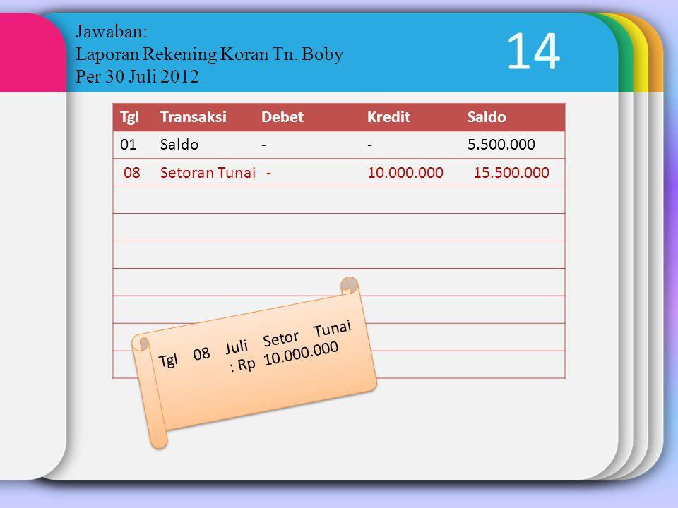 14 Jawaban: Laporan Rekening Koran Tn. Boby Per 30 Juli 2012 TglTransaksiDebetKreditSaldo 01Saldo--5.500.000 Tgl 08 Juli Setor Tunai : Rp 10.000.000 0
