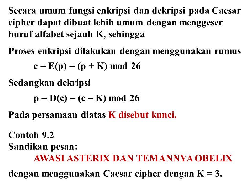 Secara umum fungsi enkripsi dan dekripsi pada Caesar cipher dapat dibuat lebih umum dengan menggeser huruf alfabet sejauh K, sehingga Proses enkripsi