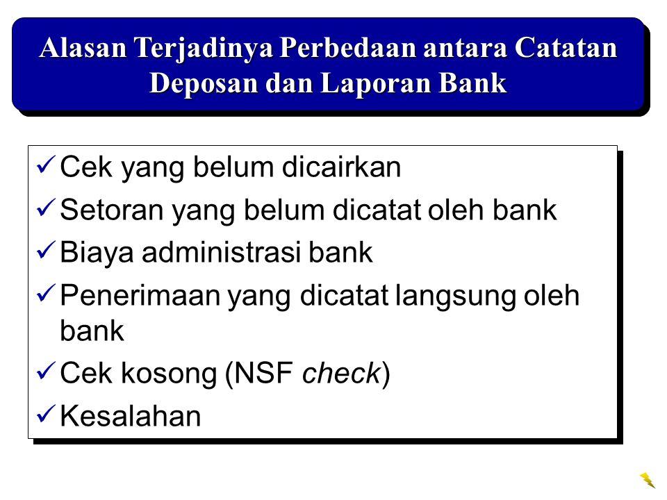 Alasan Terjadinya Perbedaan antara Catatan Deposan dan Laporan Bank Cek yang belum dicairkan Setoran yang belum dicatat oleh bank Biaya administrasi b