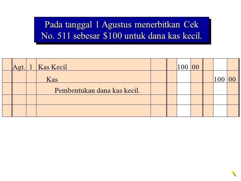 Agt. 1 Kas Kecil 100 00 Pembentukan dana kas kecil. Kas 100 00 Pada tanggal 1 Agustus menerbitkan Cek No. 511 sebesar $100 untuk dana kas kecil.