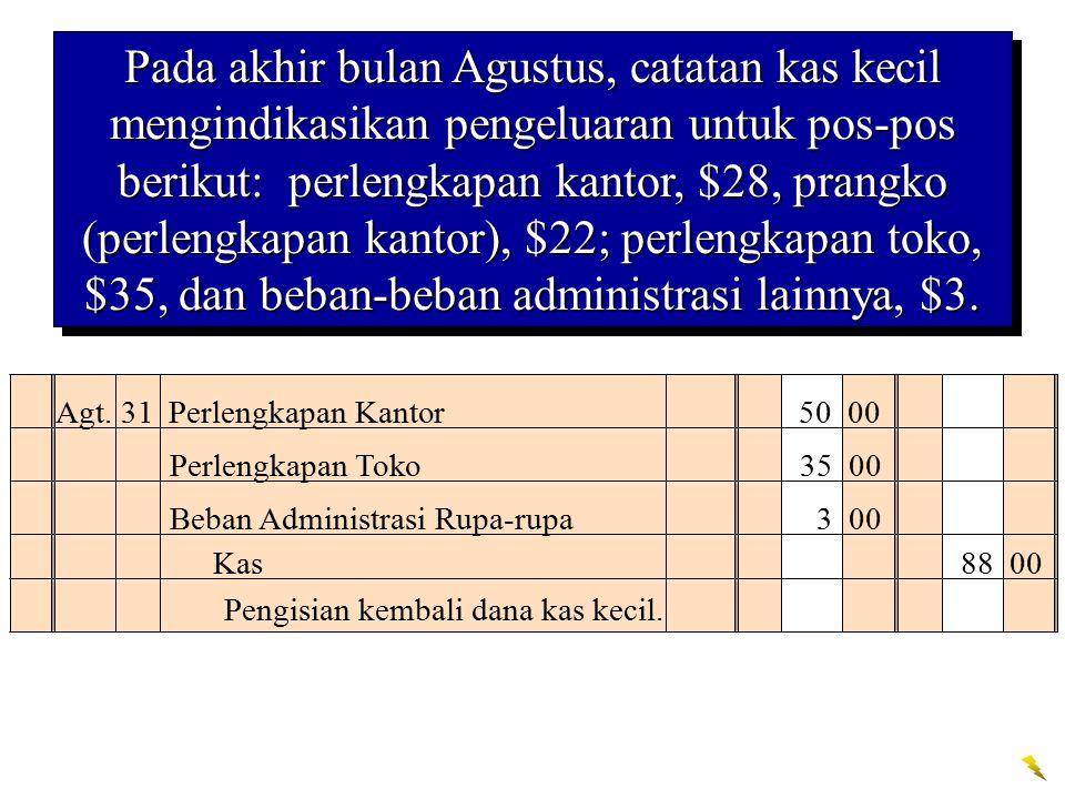 Agt. 31 Perlengkapan Kantor 50 00 Pengisian kembali dana kas kecil. Kas 88 00 Pada akhir bulan Agustus, catatan kas kecil mengindikasikan pengeluaran