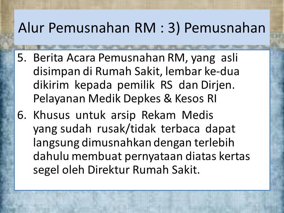 5.Berita Acara Pemusnahan RM, yang asli disimpan di Rumah Sakit, lembar ke-dua dikirim kepada pemilik RS dan Dirjen.