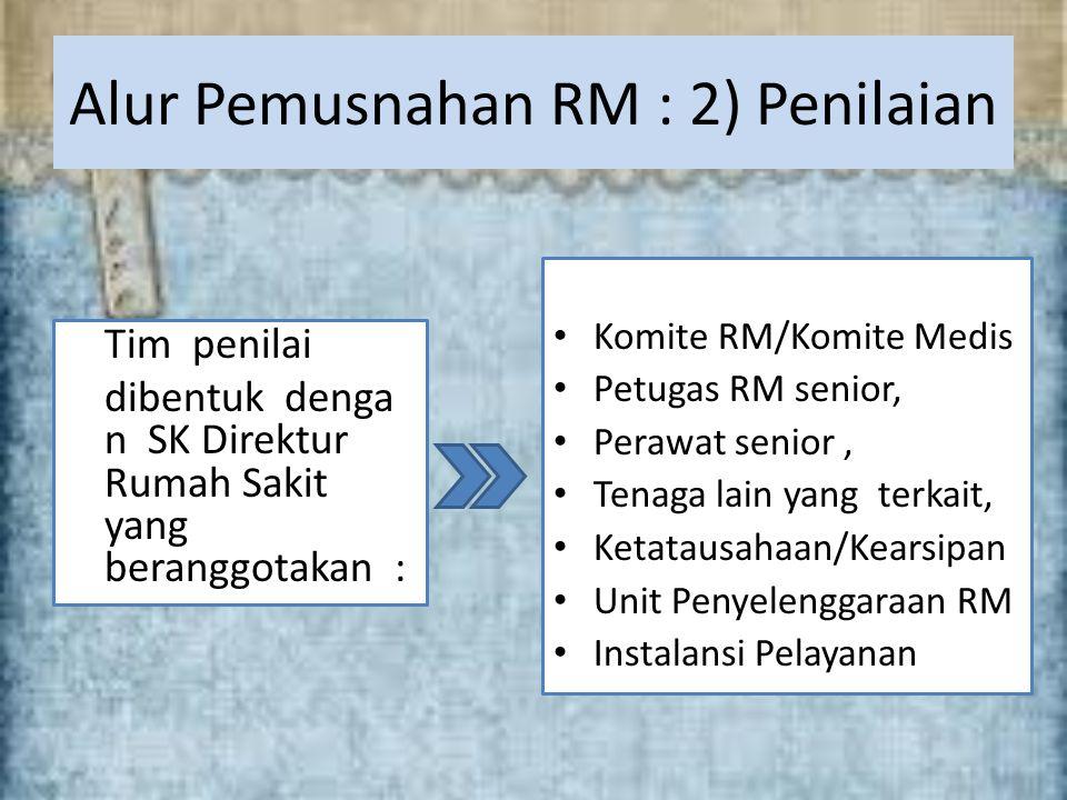 v Tim penilai dibentuk denga n SK Direktur Rumah Sakit yang beranggotakan : Alur Pemusnahan RM : 2) Penilaian Komite RM/Komite Medis Petugas RM senior