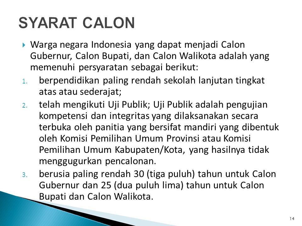  Warga negara Indonesia yang dapat menjadi Calon Gubernur, Calon Bupati, dan Calon Walikota adalah yang memenuhi persyaratan sebagai berikut: 1.