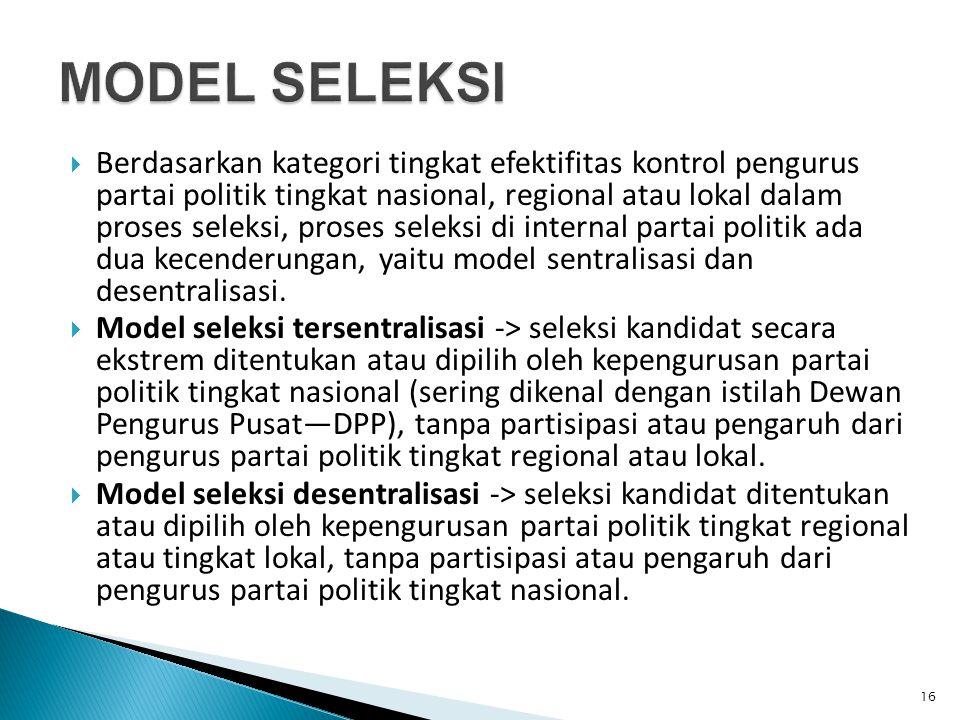  Berdasarkan kategori tingkat efektifitas kontrol pengurus partai politik tingkat nasional, regional atau lokal dalam proses seleksi, proses seleksi di internal partai politik ada dua kecenderungan, yaitu model sentralisasi dan desentralisasi.