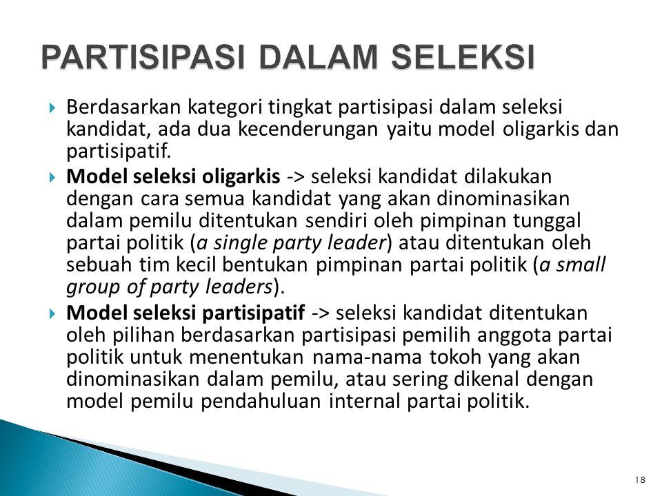  Berdasarkan kategori tingkat partisipasi dalam seleksi kandidat, ada dua kecenderungan yaitu model oligarkis dan partisipatif.  Model seleksi oliga