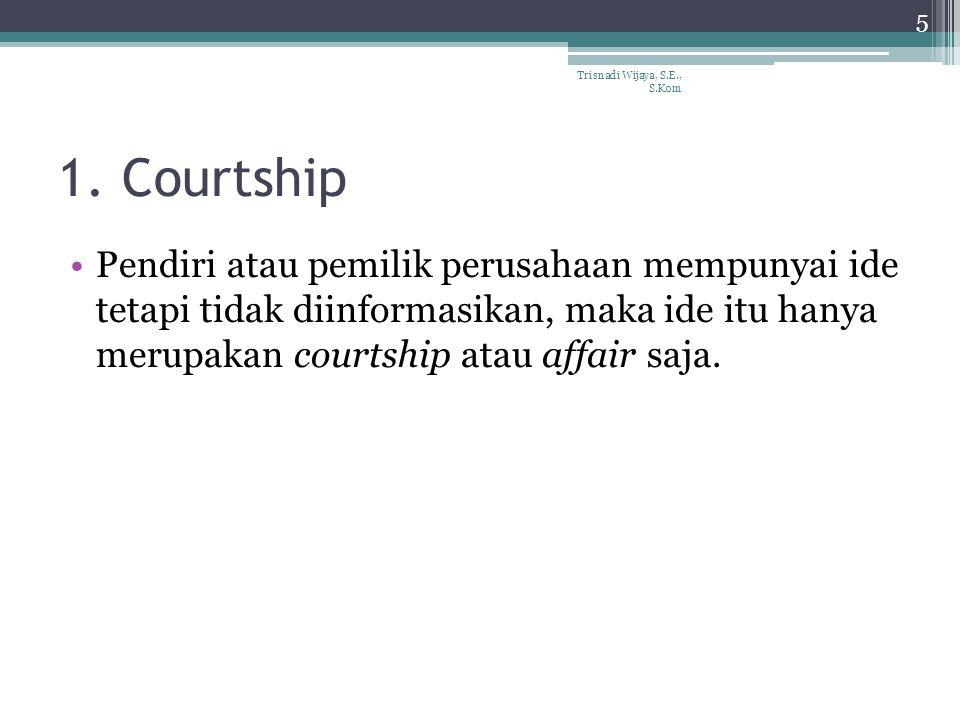 1. Courtship Pendiri atau pemilik perusahaan mempunyai ide tetapi tidak diinformasikan, maka ide itu hanya merupakan courtship atau affair saja. Trisn