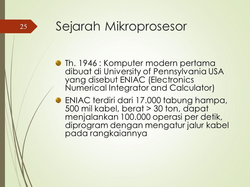 Perkembangan CPU Intel NameDateTransistors Width (micron) Clock Speed Data Width MIPS 400419712.3 K 108 KHz 40.06 808019746 K62 MHz8/80.64 803861985275 K1.5 16 MHz 32/325 Pentium19933.1 M0.8 60 MHz 32/64100 Pentium 4200042 M0.18 1.5 GHz 32/641700 2004169 M.