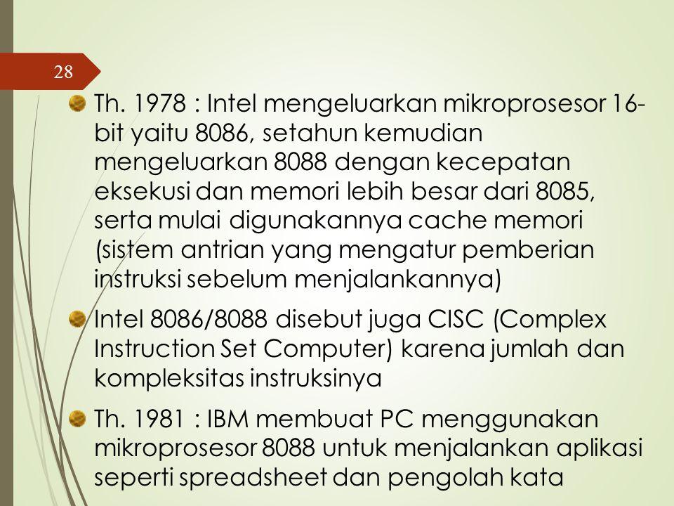 Th. 1971 : Intel mengeluarkan mikroprosesor 8- bit yaitu Intel 8008 Th.