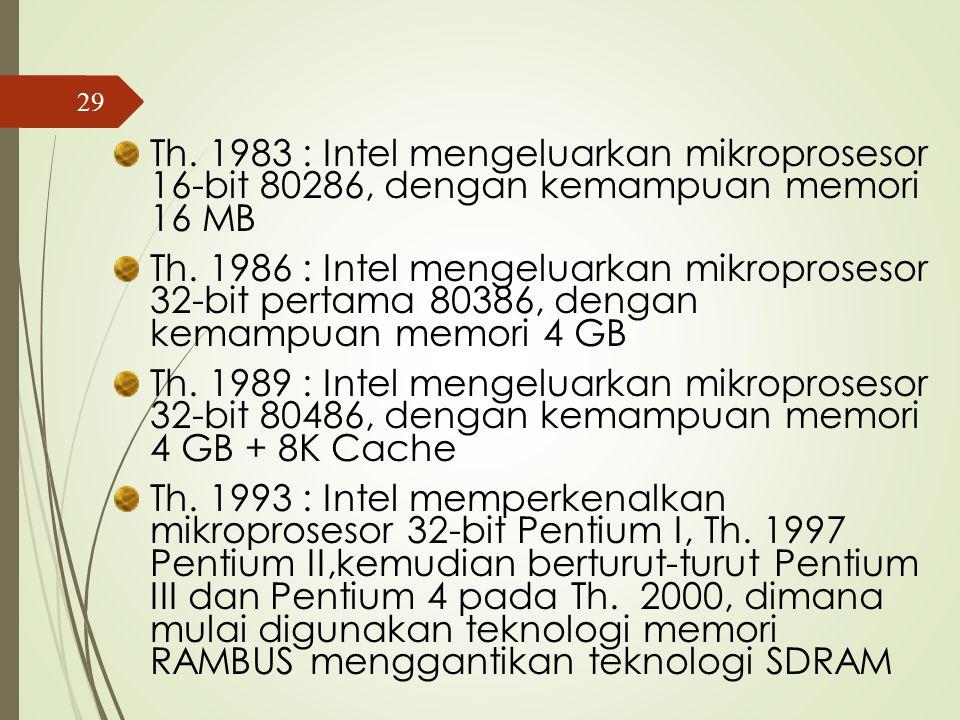 Th. 1978 : Intel mengeluarkan mikroprosesor 16- bit yaitu 8086, setahun kemudian mengeluarkan 8088 dengan kecepatan eksekusi dan memori lebih besar da