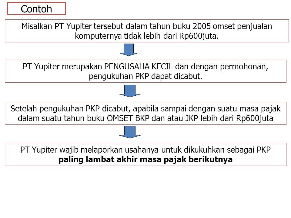 Contoh Misalkan PT Yupiter tersebut dalam tahun buku 2005 omset penjualan komputernya tidak lebih dari Rp600juta.