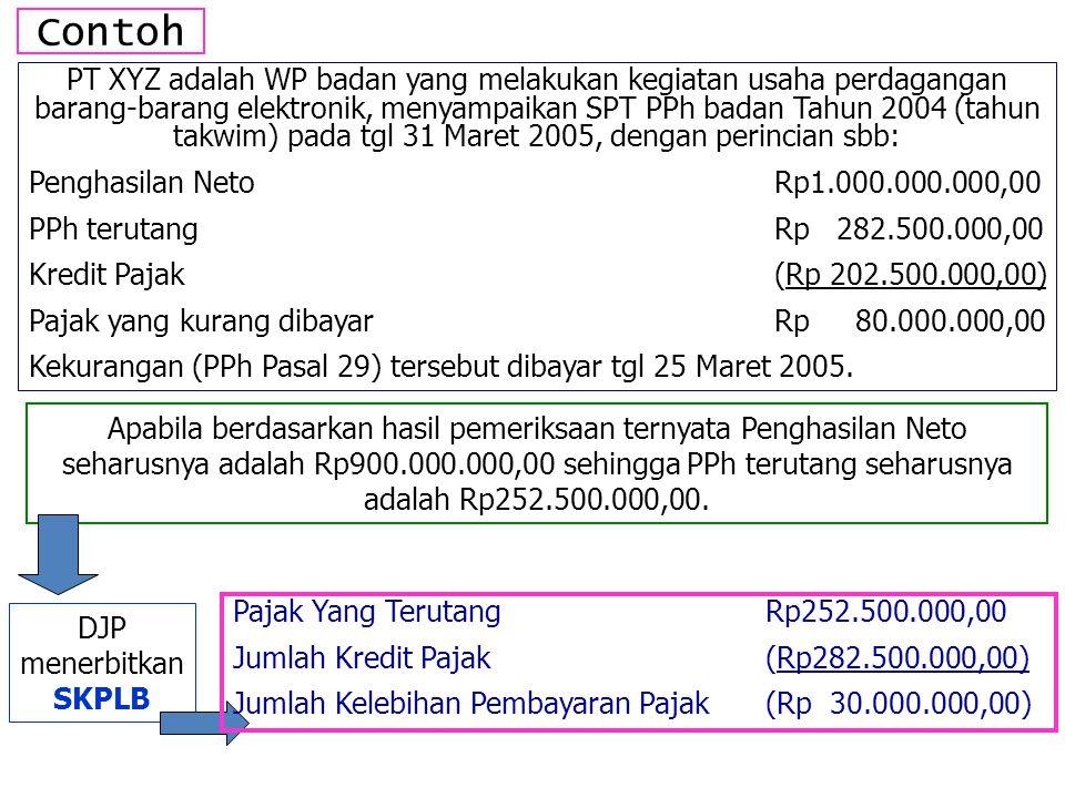Contoh PT XYZ adalah WP badan yang melakukan kegiatan usaha perdagangan barang-barang elektronik, menyampaikan SPT PPh badan Tahun 2004 (tahun takwim) pada tgl 31 Maret 2005, dengan perincian sbb: Penghasilan NetoRp1.000.000.000,00 PPh terutangRp 282.500.000,00 Kredit Pajak(Rp 202.500.000,00) Pajak yang kurang dibayarRp 80.000.000,00 Kekurangan (PPh Pasal 29) tersebut dibayar tgl 25 Maret 2005.