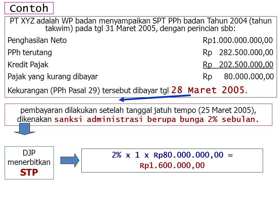 Contoh PT XYZ adalah WP badan menyampaikan SPT PPh badan Tahun 2004 (tahun takwim) pada tgl 31 Maret 2005, dengan perincian sbb: Penghasilan NetoRp1.000.000.000,00 PPh terutangRp 282.500.000,00 Kredit PajakRp 202.500.000,00 Pajak yang kurang dibayarRp 80.000.000,00 Kekurangan (PPh Pasal 29) tersebut dibayar tgl 28 Maret 2005.