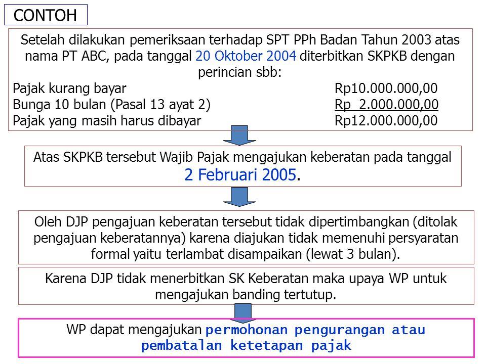 CONTOH Atas SKPKB tersebut Wajib Pajak mengajukan keberatan pada tanggal 2 Februari 2005.