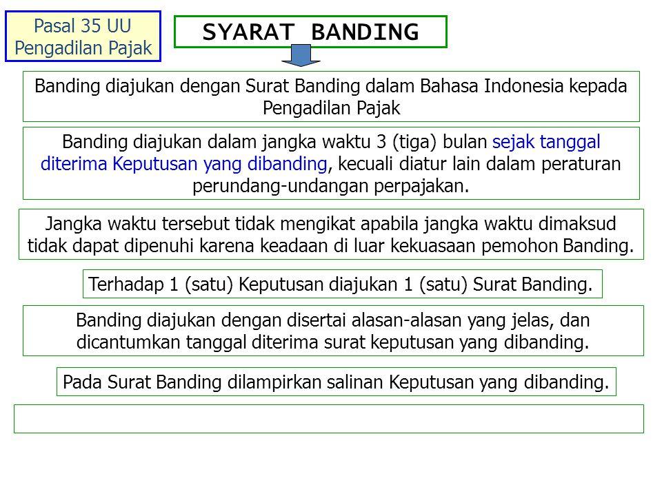 SYARAT BANDING Banding diajukan dengan Surat Banding dalam Bahasa Indonesia kepada Pengadilan Pajak Banding diajukan dalam jangka waktu 3 (tiga) bulan sejak tanggal diterima Keputusan yang dibanding, kecuali diatur lain dalam peraturan perundang-undangan perpajakan.