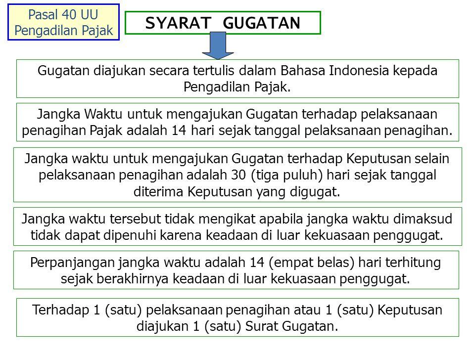 SYARAT GUGATAN Gugatan diajukan secara tertulis dalam Bahasa Indonesia kepada Pengadilan Pajak.
