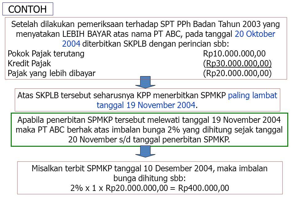 CONTOH Atas SKPLB tersebut seharusnya KPP menerbitkan SPMKP paling lambat tanggal 19 November 2004.