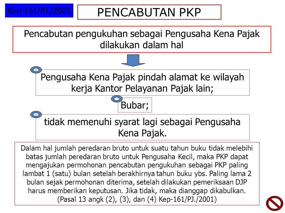 PENCABUTAN PKP Pencabutan pengukuhan sebagai Pengusaha Kena Pajak dilakukan dalam hal Pengusaha Kena Pajak pindah alamat ke wilayah kerja Kantor Pelayanan Pajak lain; Bubar; tidak memenuhi syarat lagi sebagai Pengusaha Kena Pajak.