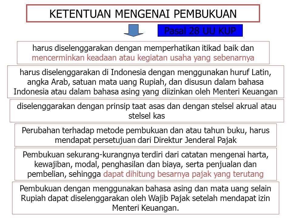 KETENTUAN MENGENAI PEMBUKUAN harus diselenggarakan dengan memperhatikan itikad baik dan mencerminkan keadaan atau kegiatan usaha yang sebenarnya harus diselenggarakan di Indonesia dengan menggunakan huruf Latin, angka Arab, satuan mata uang Rupiah, dan disusun dalam bahasa Indonesia atau dalam bahasa asing yang diizinkan oleh Menteri Keuangan diselenggarakan dengan prinsip taat asas dan dengan stelsel akrual atau stelsel kas Perubahan terhadap metode pembukuan dan atau tahun buku, harus mendapat persetujuan dari Direktur Jenderal Pajak Pembukuan sekurang-kurangnya terdiri dari catatan mengenai harta, kewajiban, modal, penghasilan dan biaya, serta penjualan dan pembelian, sehingga dapat dihitung besarnya pajak yang terutang Pembukuan dengan menggunakan bahasa asing dan mata uang selain Rupiah dapat diselenggarakan oleh Wajib Pajak setelah mendapat izin Menteri Keuangan.