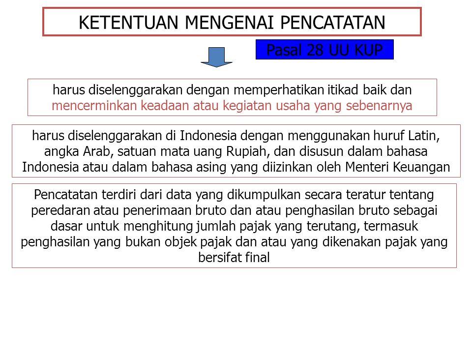 KETENTUAN MENGENAI PENCATATAN harus diselenggarakan dengan memperhatikan itikad baik dan mencerminkan keadaan atau kegiatan usaha yang sebenarnya harus diselenggarakan di Indonesia dengan menggunakan huruf Latin, angka Arab, satuan mata uang Rupiah, dan disusun dalam bahasa Indonesia atau dalam bahasa asing yang diizinkan oleh Menteri Keuangan Pasal 28 UU KUP Pencatatan terdiri dari data yang dikumpulkan secara teratur tentang peredaran atau penerimaan bruto dan atau penghasilan bruto sebagai dasar untuk menghitung jumlah pajak yang terutang, termasuk penghasilan yang bukan objek pajak dan atau yang dikenakan pajak yang bersifat final