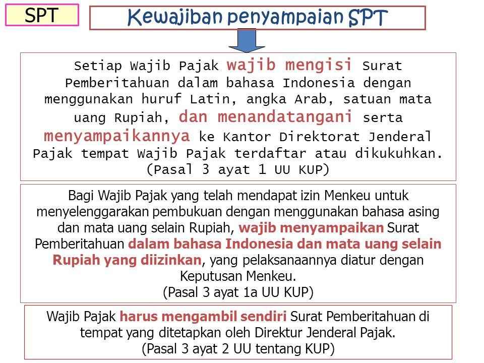 Setiap Wajib Pajak wajib mengisi Surat Pemberitahuan dalam bahasa Indonesia dengan menggunakan huruf Latin, angka Arab, satuan mata uang Rupiah, dan menandatangani serta menyampaikannya ke Kantor Direktorat Jenderal Pajak tempat Wajib Pajak terdaftar atau dikukuhkan.