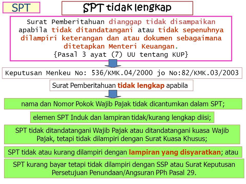SPT tidak lengkap Surat Pemberitahuan dianggap tidak disampaikan apabila tidak ditandatangani atau tidak sepenuhnya dilampiri keterangan dan atau dokumen sebagaimana ditetapkan Menteri Keuangan.