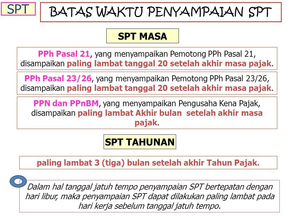 BATAS WAKTU PENYAMPAIAN SPT PPh Pasal 21, yang menyampaikan Pemotong PPh Pasal 21, disampaikan paling lambat tanggal 20 setelah akhir masa pajak.