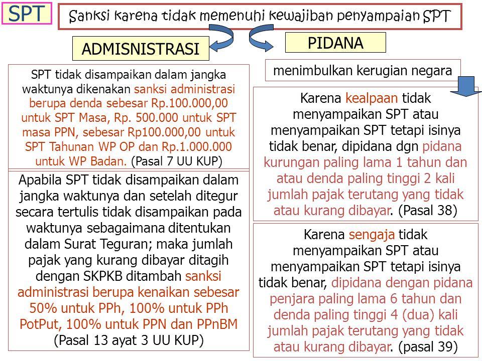 Sanksi karena tidak memenuhi kewajiban penyampaian SPT ADMISNISTRASI PIDANA SPT tidak disampaikan dalam jangka waktunya dikenakan sanksi administrasi berupa denda sebesar Rp.100.000,00 untuk SPT Masa, Rp.