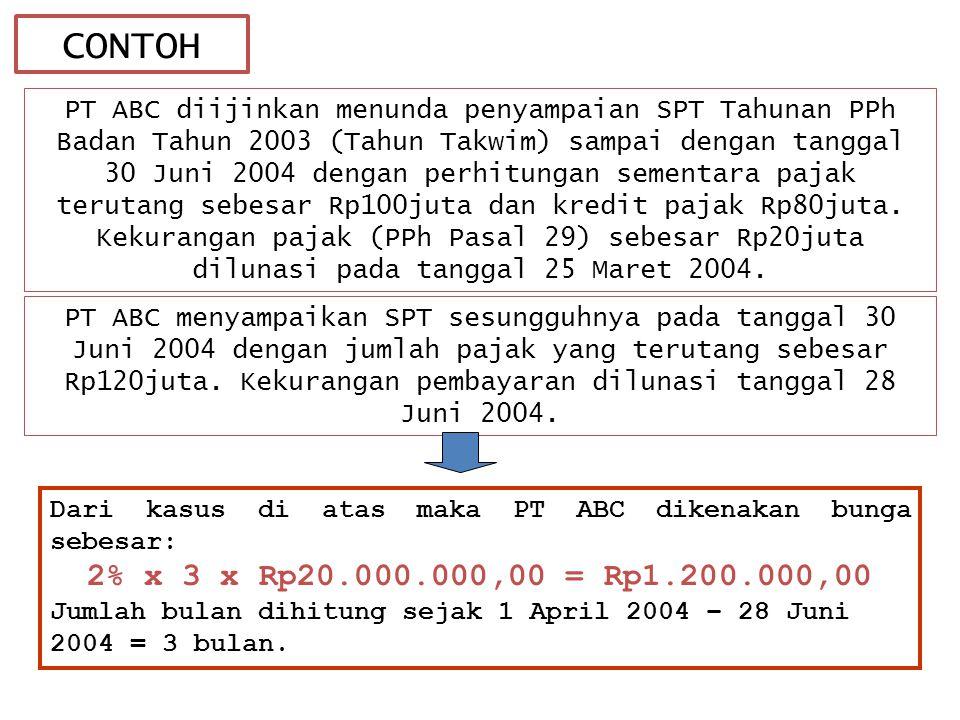 CONTOH PT ABC diijinkan menunda penyampaian SPT Tahunan PPh Badan Tahun 2003 (Tahun Takwim) sampai dengan tanggal 30 Juni 2004 dengan perhitungan sementara pajak terutang sebesar Rp100juta dan kredit pajak Rp80juta.