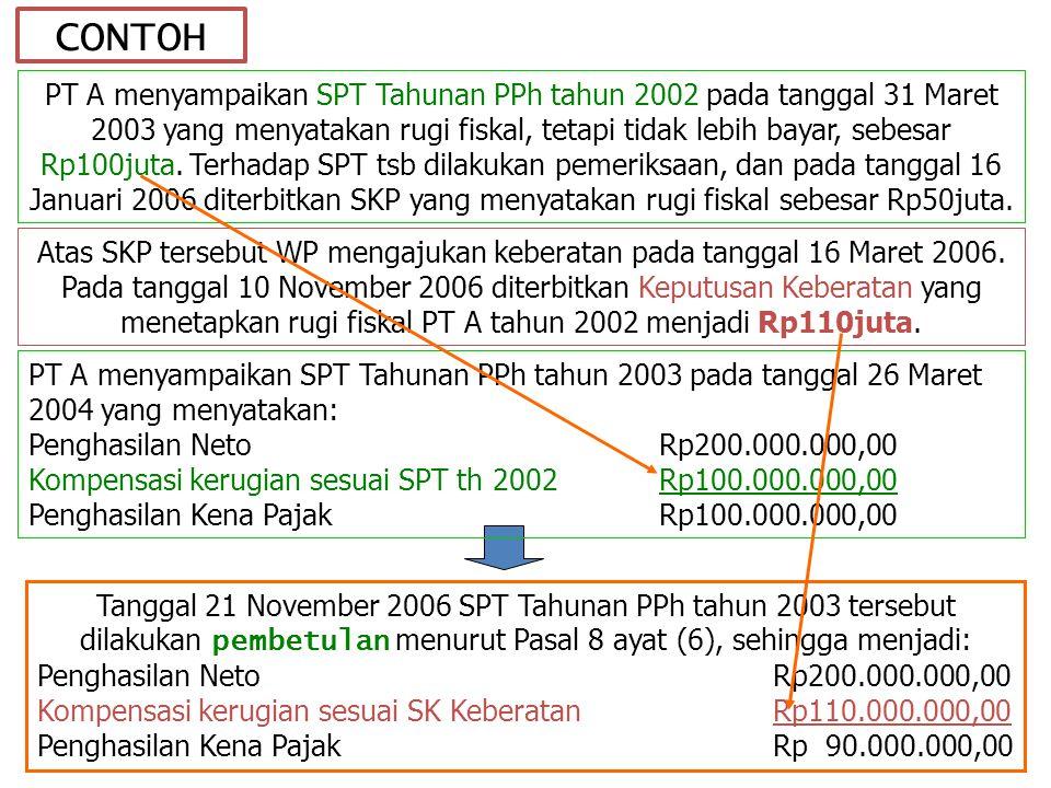 CONTOH Atas SKP tersebut WP mengajukan keberatan pada tanggal 16 Maret 2006.