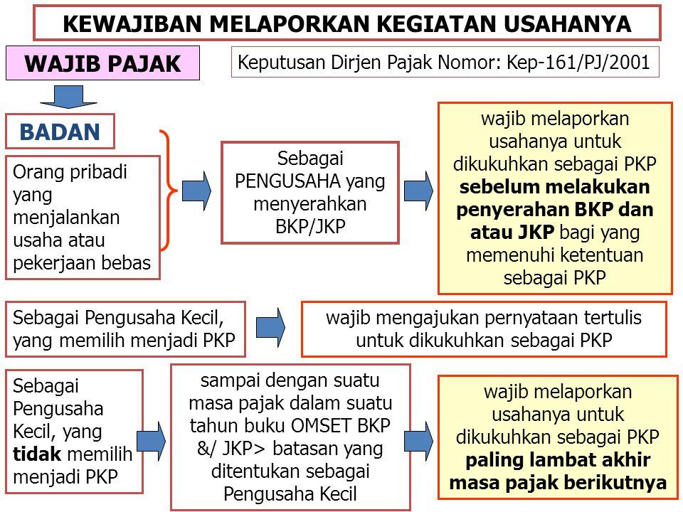 Contoh PT DEF adalah WP badan yang TIDAK ditetapkan DJP sebagai WP dengan kriteria tertentu.