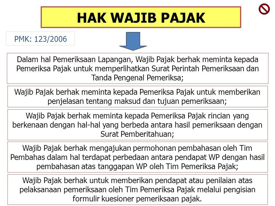 HAK WAJIB PAJAK Dalam hal Pemeriksaan Lapangan, Wajib Pajak berhak meminta kepada Pemeriksa Pajak untuk memperlihatkan Surat Perintah Pemeriksaan dan Tanda Pengenal Pemeriksa; Wajib Pajak berhak meminta kepada Pemeriksa Pajak untuk memberikan penjelasan tentang maksud dan tujuan pemeriksaan; Wajib Pajak berhak meminta kepada Pemeriksa Pajak rincian yang berkenaan dengan hal-hal yang berbeda antara hasil pemeriksaan dengan Surat Pemberitahuan; PMK: 123/2006 Wajib Pajak berhak mengajukan permohonan pembahasan oleh Tim Pembahas dalam hal terdapat perbedaan antara pendapat WP dengan hasil pembahasan atas tanggapan WP oleh Tim Pemeriksa Pajak; Wajib Pajak berhak untuk memberikan pendapat atau penilaian atas pelaksanaan pemeriksaan oleh Tim Pemeriksa Pajak melalui pengisian formulir kuesioner pemeriksaan pajak.