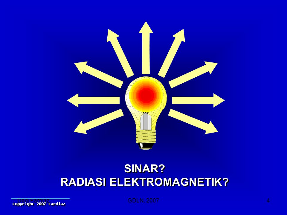 Dedi FardiazGDLN, 20074 SINAR. RADIASI ELEKTROMAGNETIK.