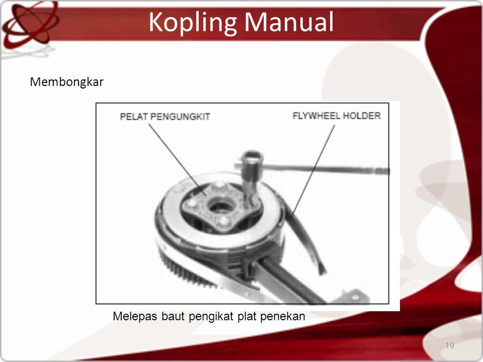 Kopling Manual Membongkar 19 Melepas baut pengikat plat penekan