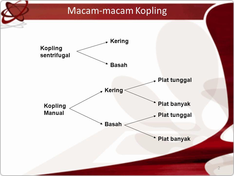 Macam-macam Kopling 2 Kopling Manual Kopling sentrifugal Kering Basah Kering Basah Plat tunggal Plat banyak Plat tunggal Plat banyak