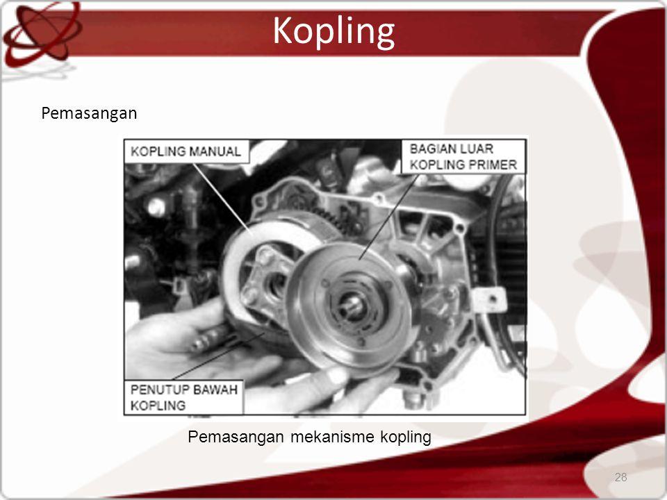 Kopling Pemasangan 28 Pemasangan mekanisme kopling