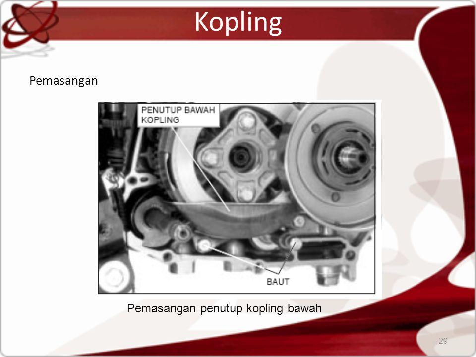 Kopling Pemasangan 29 Pemasangan penutup kopling bawah