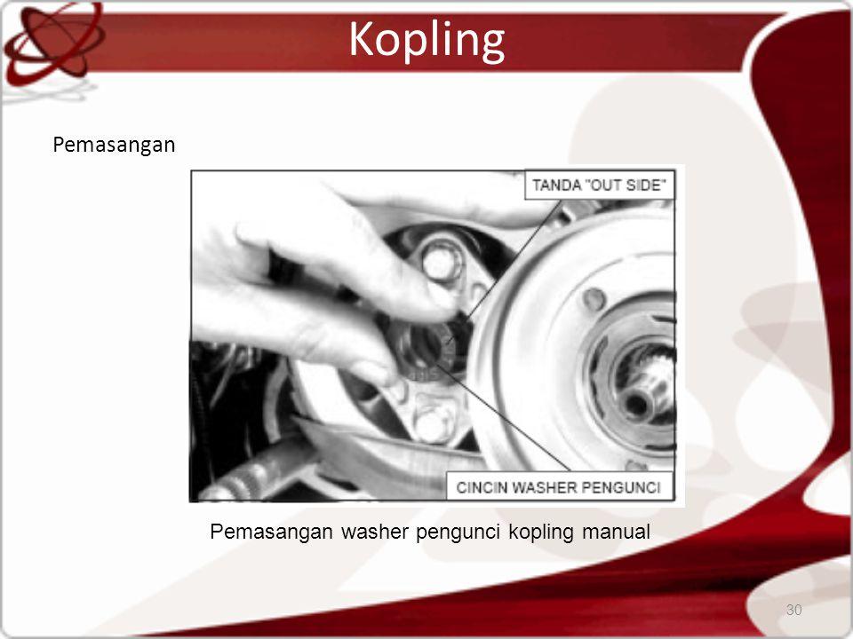 Kopling Pemasangan 30 Pemasangan washer pengunci kopling manual