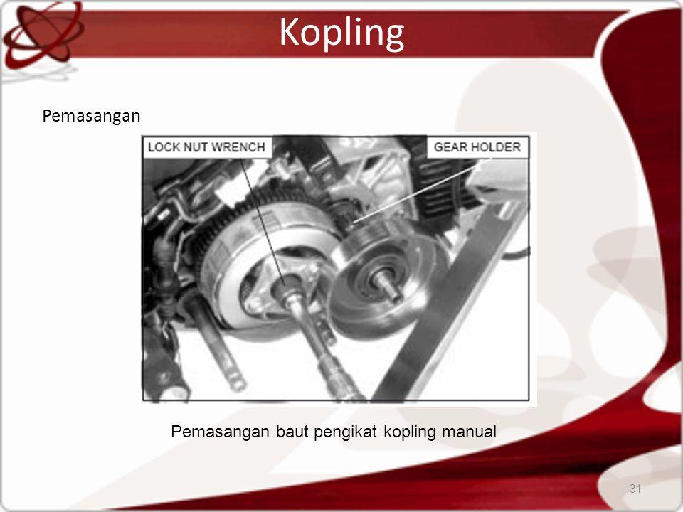 Kopling Pemasangan 31 Pemasangan baut pengikat kopling manual