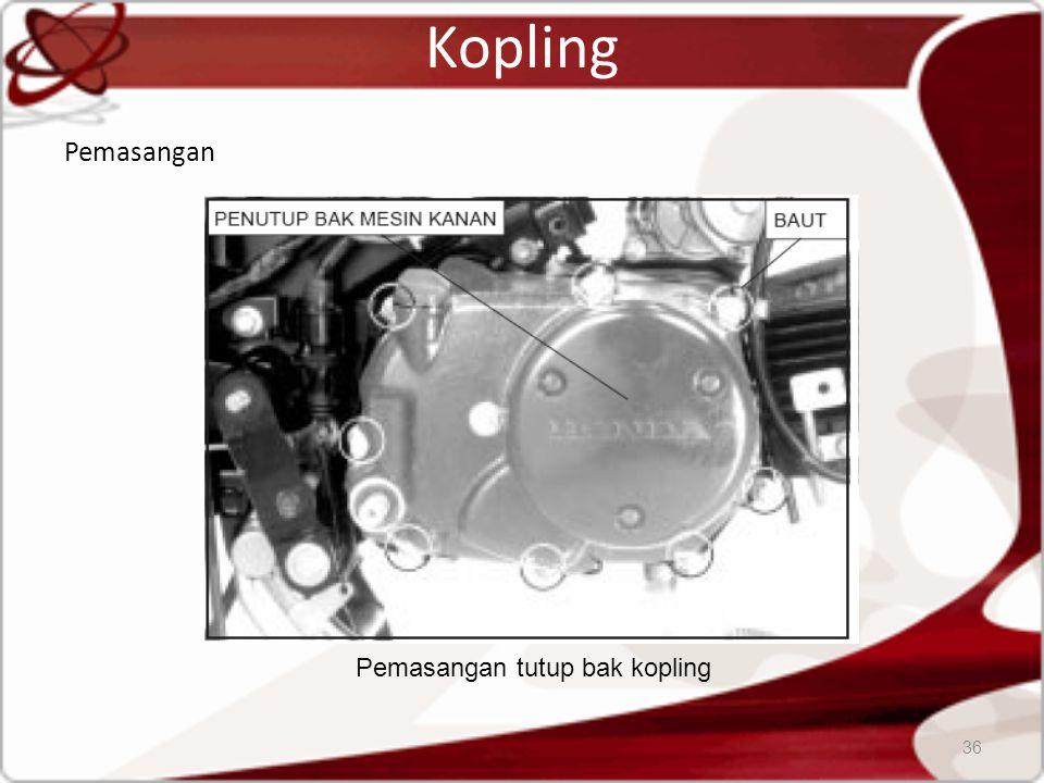 Kopling Pemasangan 36 Pemasangan tutup bak kopling
